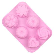 Silicone Flower Shaped Mold Design Baking Flower Shaped Geometric Mini Silicone 3D Decorative Silicone Tool Cake Mold