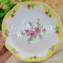 Ensemble de vaisselle en grès rayé émaillé avec logo en porcelaine de qualité supérieure de qualité supérieure