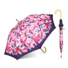 L'usine certifiée L'Oréal Acheter en vrac personnaliser logo imprimer Poignée en bois droite Parapluie