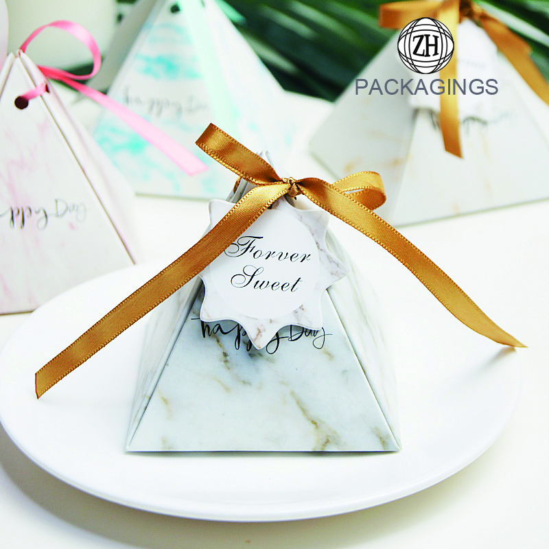 Mini Coated Pyramid Candy Packaging Paper Boxes Wholesale