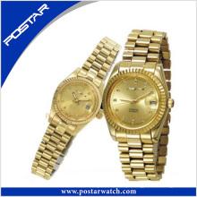 Relógio de pulso de casal de luxo com chapeamento de ouro IP