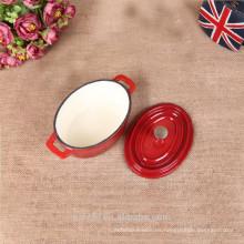 Oval mini olla de hierro esmalte pote