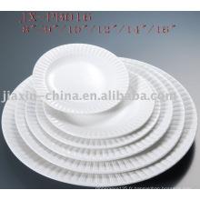Restaurant rond forme vaisselle en porcelaine blanche JX-PB016