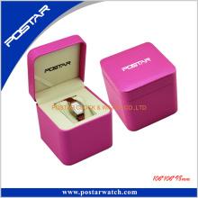 Pantalla de reloj de cuero de color rosa