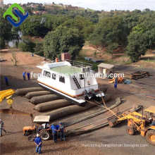 Inflatable ship launching airbag for dry dock