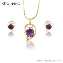 Xuping atacado mulheres moda banhado a ouro conjunto de jóias de cristal -61329
