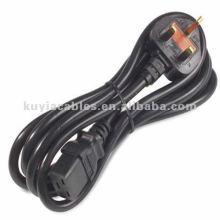 6 Ft Fused AC UK Power Cable Noir pour ordinateurs, moniteurs,