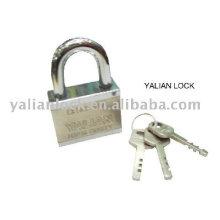 square iron padlock with vane key