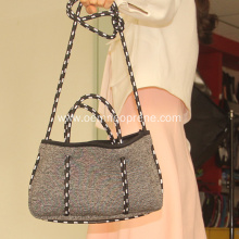 Grey Perforated Neoprene Bag For Women Ladies