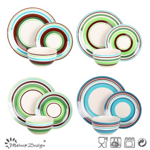 18PCS High Quality Stripe Design Handpainting Ceramic Dinner Set