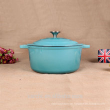 Neue kundenspezifische runde Gusseisen Cassrole Haushalt Kochgeschirr blau