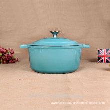 New Customized Round Cast Iron Cassrole Household Cookware Blue