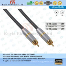 Gold component AV cable for video and stereo audio male to male cable