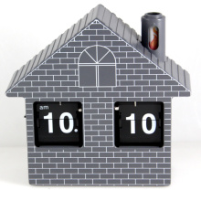 Red House Flip Clock Reloj de escritorio