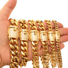 Fashion Gold Plated Cuban Chain Stainless Steel Jewelry Titanium Steel Jewelry Cnc Diamond Men's Necklace With Bracelet