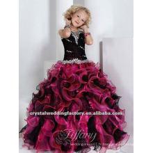 Nouvelle robe à rotule à perles en ébouriffé robe noire violette sur mesure robe de fille de fleur de culte CWFaf4587