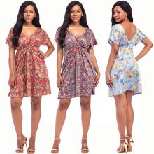 Bohemia style women sexy dress milk fiber material deep v neck dress short sleeve digital print dress