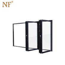 Industrial electric transparent polycarbonate folding glass door