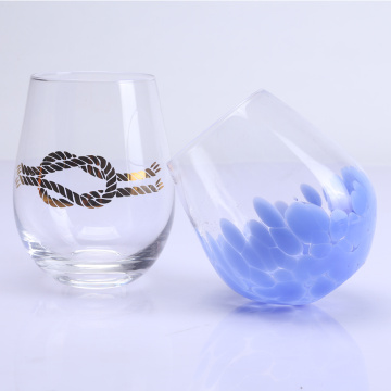 Met de hand geblazen Stemless Tumbler Wine Glass Set