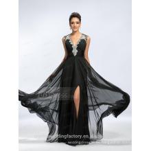 Alibaba Elegante Applique largo nuevo diseñador V cuello negro gasa playa vestidos de noche o vestido de dama de honor LE16