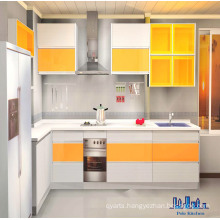 Pole White and Yellow MDF Paniting Kitchen Cabinet