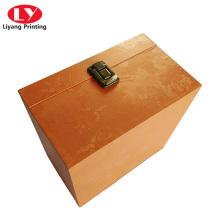 Caixa de papel de decorações cosméticas de luxo com fechadura de metal