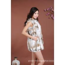 Women Winter Rabbit Fur Waist Coat/Super Quality Rabbit Fur Vest With Hat