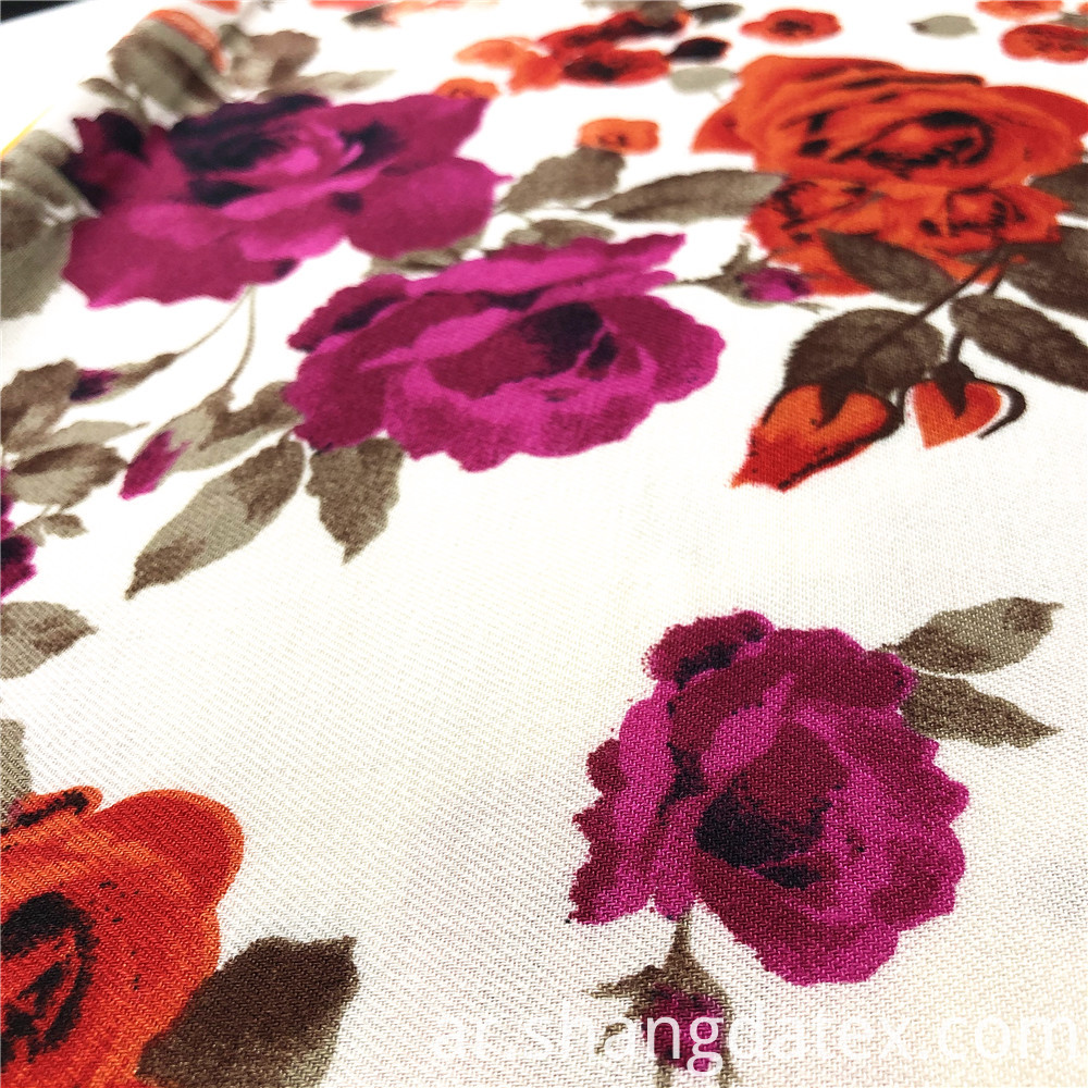 Flower Rayon Twill Fabric