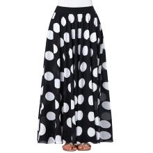 Kate Kasin Women's Fashion Summer High-waist Long Polka Dots Chiffon Skirt KK000295-1