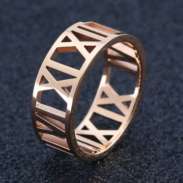 Ladies Rostfritt Stål Rose Gold Roman Numeral Ring