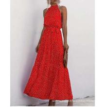 Ladies viscose print long dress in summer