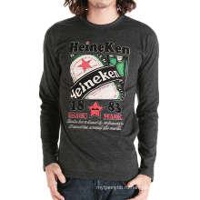 Пользовательские Оптовая продажа мода печатных длинным рукавом хлопок Мужская футболка