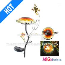 Moda Metal Frog Stake Mushroom Luz Solar Jardín Luz