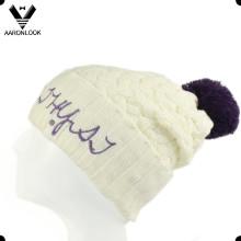 Señora Crochet Patrón Largo invierno Cap con bordado