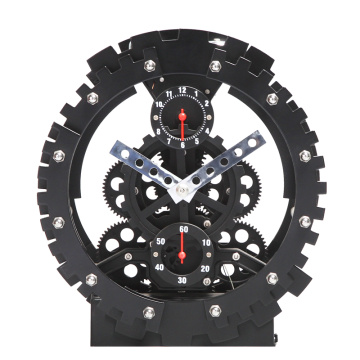 Deutschland Black Round Table Gear Clock
