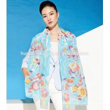 Bufanda de seda pura propio diseño impreso bufanda georgette mantón
