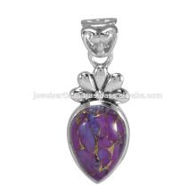 Designer Purple Copper Turquoise Gemstone 925 Solid Silver Pendant