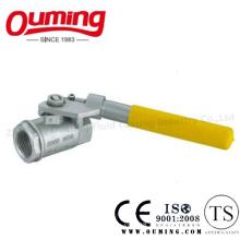 2PC Нержавеющая сталь Резьбовой шаровой клапан с пружинной ручкой