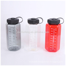 Hexagonal Tritan 1000ml Portable Wide Mouth Plastic Water Bottle