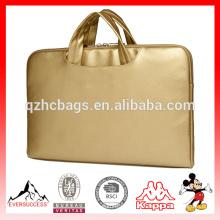 Briefcas de Laptop de couro de PU de Canvaslife ouro para Notebook Laptop Sleeve bag