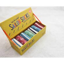 Los calcetines de bambú del ancla de la rayita de los niños muy suaves con la caja de regalo
