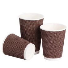 Food grade thick single wall kraft paper cup for hot and cold drink ripple wall paper cup