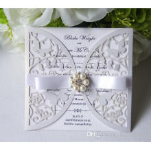 Custom Made Hollow Invitation Card For Wedding Party Supply Free Printing With Pearls Elegant Bow High Quality ML276
