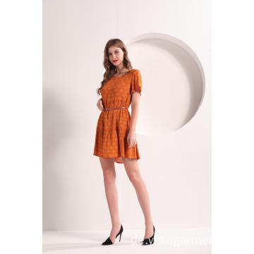 Damen Orange Sommer Minikleid