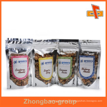 Customized laminated zipper top silver plastic foil bag for dried food packaging with sticker