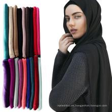 2017 superventas de moda liviano llano musulmán bufanda de la cabeza árabe hijab bufanda chal jersey hijabs