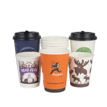 paper cup coffee cups_Custom degradable disposable printed hot cup sleeve