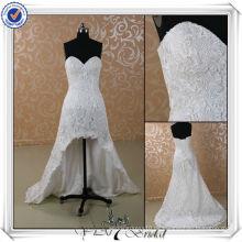 JJ3501 reale Probe J3501 neueste reale Beispiel kurze vordere lange rückseitige Spitze-Hochzeits-Kleid