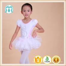 Ropa de baile para niños hecha de algodón peinado y gasa, vestido de baile de tutú de chifón Vestido de tutú de niña de 3 años