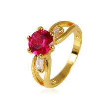 Xuping anillo de cobre plateado oro de la manera 24k con la piedra brillante de la CZ